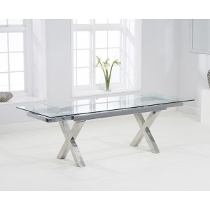 Destin Extendable Glass Dining Table In Clear And Stainless Steel