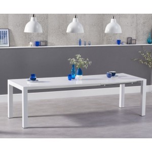 Layton Extendable Dining Table In White High Gloss