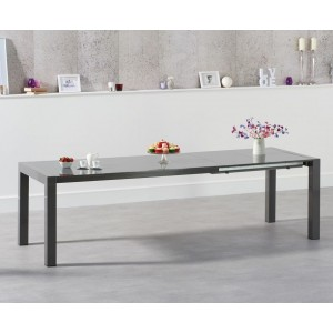 Layton Extendable Dining Table In Dark Grey High Gloss