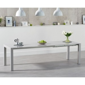 Layton Extendable Dining Table In Light Grey High Gloss