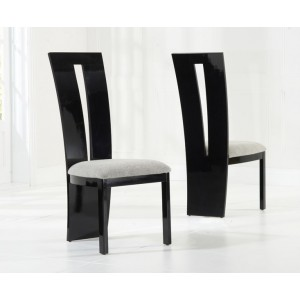 Arizona Dining Chair In Black Gloss And Grey Fabric In A Pair