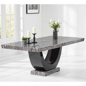 Memphis Marble Large Dining Table Rectangular In Dark Grey And Black