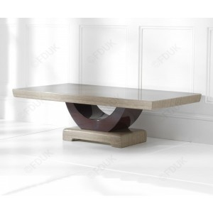 Memphis Marble Coffee Table Square In Light And Dark Brown