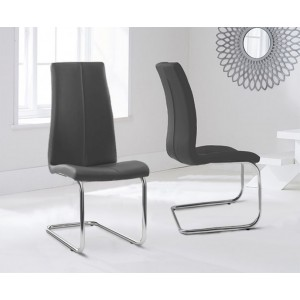 Ramet Dining Chair In Grey Faux Leather In A Pair