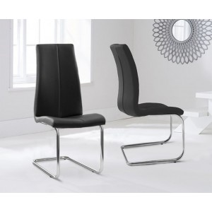 Ramet Dining Chair In Black Faux Leather In A Pair