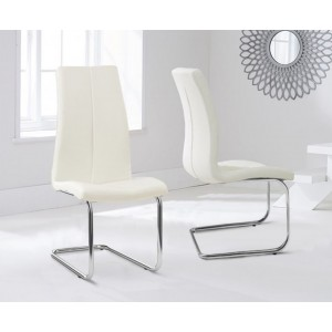 Ramet Dining Chair In Cream Faux Leather In A Pair