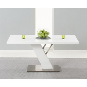 Espero Rectangular Dining Table In White Gloss With Metal Base