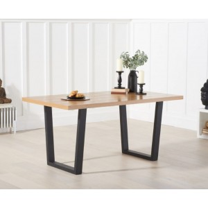 Raven Dining Table Rectangular In Oak With Metal Legs
