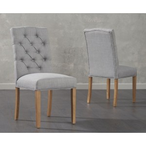 Matteson Dining Chair In Grey Fabric And Oak Legs In A Pair