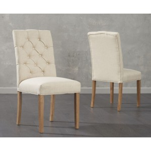 Matteson Dining Chair In Beige Fabric And Oak Legs In A Pair