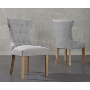 Ariel Dining Chairs In Grey Fabric And Oak Legs In A Pair