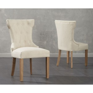 Ariel Dining Chairs In Beige Fabric And Oak Legs In A Pair