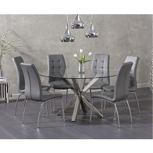 Casa Round Clear Glass Dining Table With 4 Ramet Grey Dining Chairs