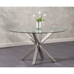 Casa Round Clear Glass Dining Table With Stainless Steel Legs