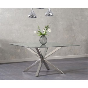 Casa Square Glass Dining Table In Clear With Stainless Steel Legs