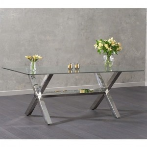 Hilton Glass Dining Table In Clear With Stainless Steel Legs