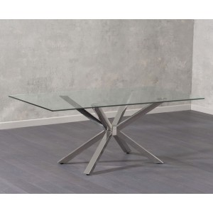 Raquel Glass Dining Table In Clear With Chrome Legs