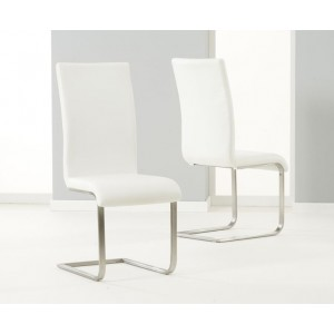 Malibu Faux Leather Dining Chair In Ivory White And Chrome Legs In Pair