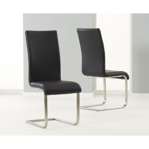 Malibu Faux Leather Dining Chair In Black And Chrome Legs In Pair
