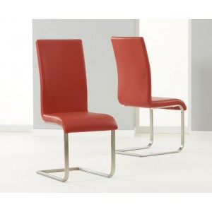 Malibu Faux Leather Dining Chair In Red And Chrome Legs In Pair