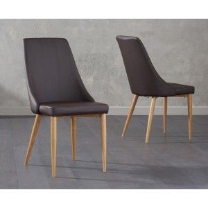 Terrance Dining Chair In Brown Faux Leather And Oak Legs In A Pair