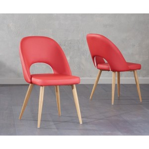 Payton Dining Chair In Red Faux Leather And Oak Legs In A Pair