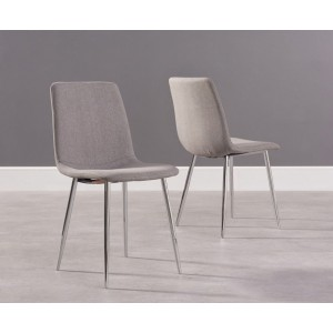 Parson Dining Chair In Grey Fabric And Chrome Legs In A Pair