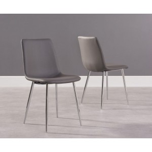 Parson Dining Chair In Grey Faux Leather And Chrome Legs In A Pair