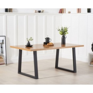 Raven Large Dining Table Rectangular In Oak With Metal Legs