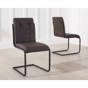 Tripoli Brown Faux Leather Dining Chair In A Pair
