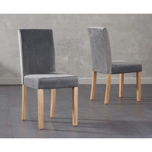 Wilkinson Dining Chair In Grey Plush Fabric And Oak Legs In A Pair