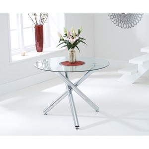 Nevada Round Glass Dining Table With Chrome Base