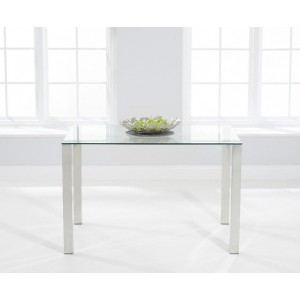 Robbie Clear Glass Dining Table With Chrome Legs