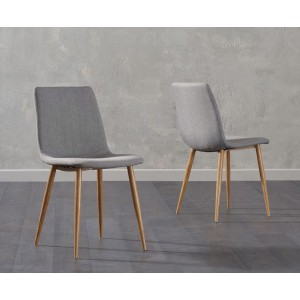 Parson Dining Chair In Grey Fabric And Oak Legs In A Pair
