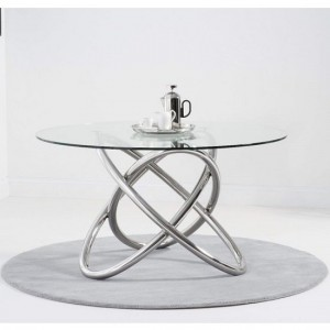 Atlanta Glass Round Dining Table With Stainless Steel Base