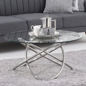 Atlanta Glass Round Coffee Table With Stainless Steel Base