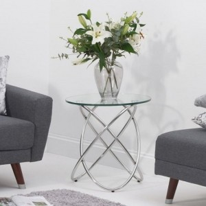 Atlanta Glass Round Lamp Table With Stainless Steel Base