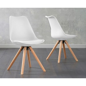Olivier Dining Chair In White Faux Leather And Oak Legs In A Pair