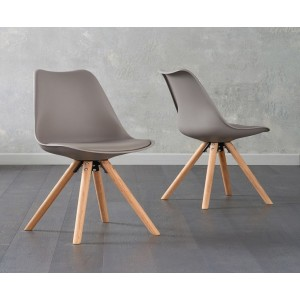 Olivier Dining Chair In Taupe Faux Leather And Oak Legs In A Pair