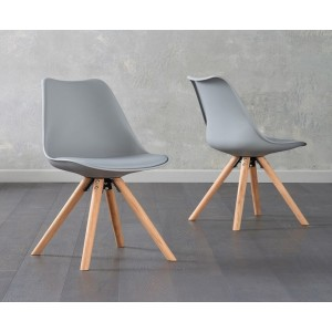 Olivier Dining Chair In Light Grey Faux Leather And Oak Legs In A Pair