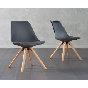 Olivier Dining Chair In Dark Grey Faux Leather And Oak Legs In A Pair