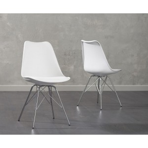 Aeron Dining Chair In White With Chrome Legs In A Pair