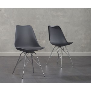 Aeron Dining Chair In Dark Grey With Chrome Legs In A Pair