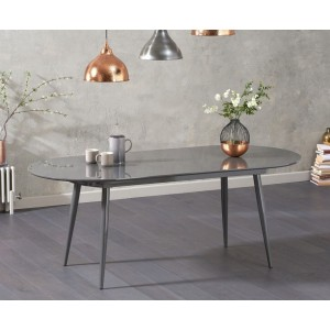 Bozen Extendable Dining Table Oval In Grey High Gloss