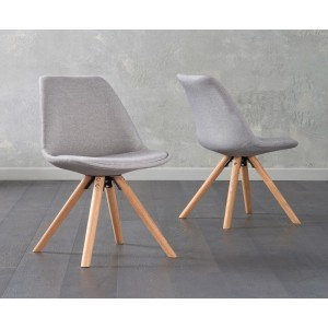 Olivier Dining Chair In Light Grey Fabric And Round Oak Legs In A Pair