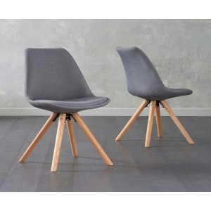 Olivier Dining Chair In Dark Grey Fabric And Round Oak Legs In A Pair