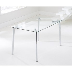 Destiny Glass Dining Table Rectangular In Clear With Chrome Legs