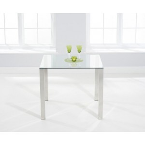 Robbie Square Clear Glass Dining Table With Chrome Legs