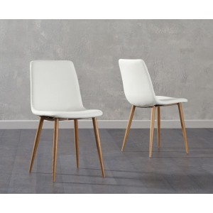 Parson Dining Chair In White Faux Leather And Oak Legs In A Pair