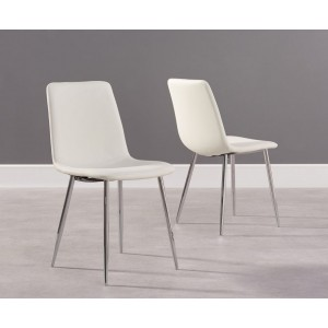 Parson Dining Chair In White Faux Leather And Chrome Legs In A Pair